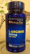 Puritan's Pride L-Arginine 500mg 500 Mg Free Form ~100 Capsules ~Amino Acid