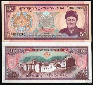 BHUTAN 50 NGULTRUM P-19 1995 Rare LATE KING DZONG PALACE UNC MONEY BILL BANKNOTE