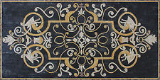 Exquisite Floor Rug Inlay Art Black Background Home Decor Marble Mosaic CR181