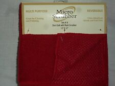 """Red Kitchen Set 6 Micro Fiber Scrubber 12""""x12"""" Microfiber Cleaning Dish Cloths"""