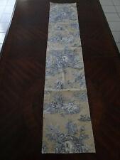 Decorative Blue and Beige Linen Toile de Jouy Table Runner