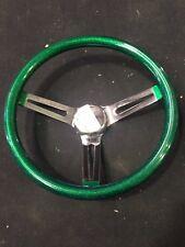 """Mooneyes steering wheel green metal flake 13.5"""" slotted spoke  hot rod 1932"""