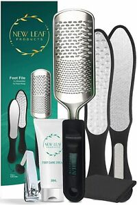 Foot File Hard Skin Remover Exfoliator Pedicure Stainless Steel Set with Cream