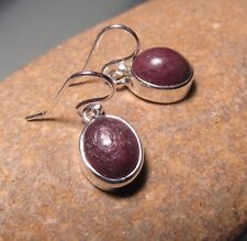 Sterling silver everyday cabochon RUBY oval HOOK earrings.