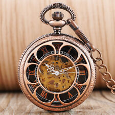 Vintage Automatic Mechanical Pocket Watch Luxury Womens Flower Pendant Chain