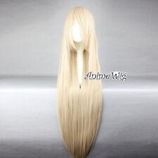 Lolita Blonde Long 100CM Straight Karneval DE Partei Anime Cosplay Wig+Wig Cap