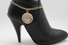 Women Western Boot Bracelet Gold Metal Chains Coin Cross Bling Anklet Shoe Charm