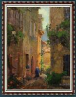 """Hand-painted Original Oil painting art house street Landscape on Canvas 24""""x36"""""""