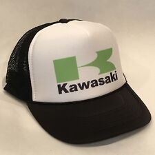 Kawasaki Motorcycle Hat Racing Vintage Trucker Mesh Back Snapback Cap Black Grn