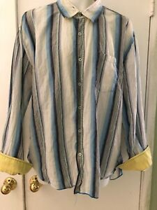 Arnold Zimberg Size XL Shirt white Blue Flip Cuff Button Front Hollywood