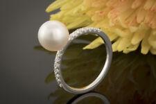Schmuck Schlanker Perlenring mit Brillanten in Weißgold Ring Süßwasserzuchtperle