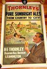 1905 Ale Beer Brewery Bottle Antique English Advertising Vintage Bar Sign Poster