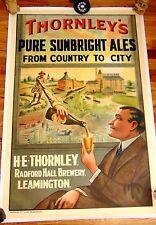 HUGE Ale Beer Brewery Antique English Advertising Vintage Bar Sign Old Poster