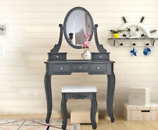 Black Dressing Table Set Vanity Makeup Desk Free Stool 360° Mirror + 5 Drawers
