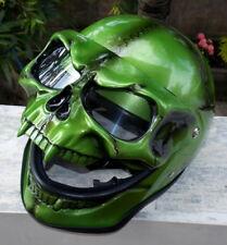 Motorcycle Helmet Skull Skeleton MONSTER Ghost Visor Shield Full face 3D Green