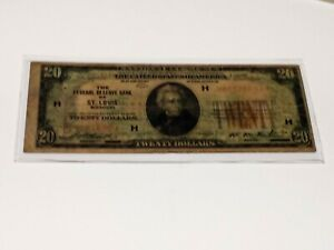 1929 $20.00 National Currency! Saint Louis! No Reserve!