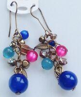 boucles d'oreilles crochet pampille perle cristal feuille couleur or  661