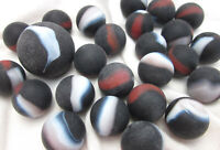 25 Glass Marbles PIRATE black/red/white Patch Matte Finish Swirl Shooter lot