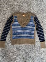 NEW WITHOUT TAGS Tory Burch V-Neck Brown/Blue Striped Sweater Size S
