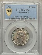 1921 Guadeloupe Franc PCGS MS 64 Superb Toning