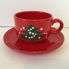 Waechtersbach W. Germany Red with Green Christmas Tree Flat Cup and Saucer