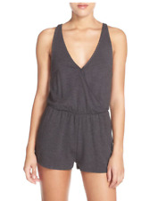 ALO YOGA Sleeveless Hatha V Neck Elastic Waist Romper Grey Shorts Cover Up S $90