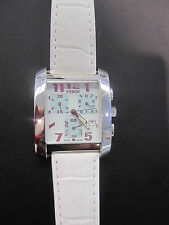 Fendi Orologi Ladies Stainless Steel Chronograph Watch on White Leather Strap