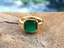 Green Onyx Square Gold Stackable Ring Faceted Vermeil Gold Ring Size 7