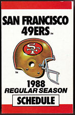 1988 SAN FRANCISCO 49ERS MILLER BREWING FOOTBALL POCKET SCHEDULE FREE SHIPPING