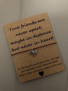 💕 True Friends Never Apart Quote Friendship Charm bracelet Gift Present💕