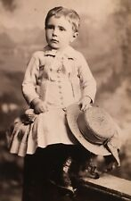 1890's Adorable Young School Girl Hat CABINET CARD PHOTO Reading Pennsylvania
