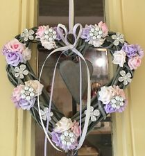 Wicker Heart Hanging Wreath Brooches Country Farmhouse Beautiful  Roses