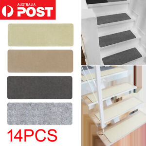 14Pcs Anti-slip Stair Pads Mat Carpet Sticky Bottom Repeatedly-use Home AUS