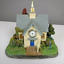 Thomas Kinkade Cottage Village The Forest Chapel Church Lighted Statue Clock