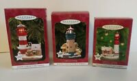 Hallmark Ornaments Lot of 3 Lighthouse Greetings (Magic Series) 1997, 1999, 2000