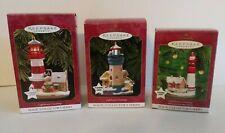 Hallmark Ornaments Lot of 3 Lighthouse Greetings (Magic Series) 1997, 1999, 2000
