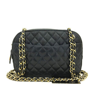 CHANEL Quilted Matelasse Lambskin Chain Shoulder Bag Navy Blue /90659
