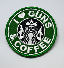 I LOVE GUNS AND COFFEE MORALE PATCH GREEN HOOK LOOP FASTENER BACKING QUALITY