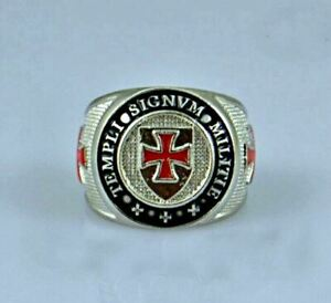 Men's Knights Templar Masonic Ring- Alloy- Signvm Militie Templi -3 Red Crosses
