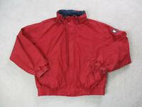 VINTAGE Tommy Hilfiger Jacket Adult Large Red Flag Spell Out Logo Coat Mens 90s*