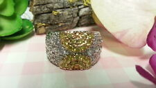 Beautiful Sparkles 2 Tones CZs Heavy Cockt Ring Sterling Silver*Size 10*E570
