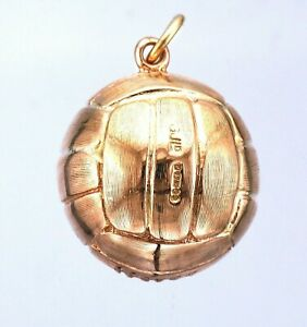 Vintage - 9ct Yellow Gold Solid Football Charm Pendant - c London 1961