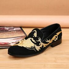 Black Suede Leather Man Flats Chinese Dragon Pattern Embroidery Loafers Shoes