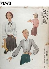 VTG Sewing Pattern McCall #7194 Size 12 Bust 32 Blouse 1950s