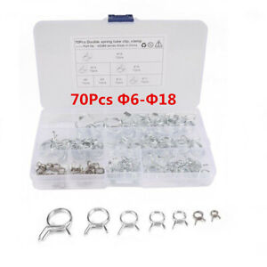70Pcs Double Wire Fuel Line Hose Tube Clamp Spring Clips Assortment Kit For Car