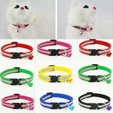 1* Adjustable Pet Cat Dog Puppy Glossy Reflective Collar Safe Buckle Bell Strap