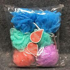 Body Benefits Set Of 6 Bath Sponge Puff Balls Colorful Soft Netting w/ Rope New