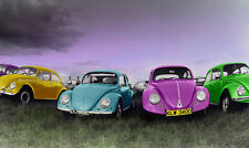 Photographic poster of old style VW beetles in line,new