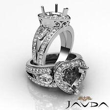 3Stone Halo Pave Set Diamond Engagement Ring Platinum 950 Heart Semi Mount 1.5Ct
