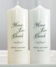 Honor Love Cherish Personalized Unity Candle Ceremony White Ivory Wedding Candle